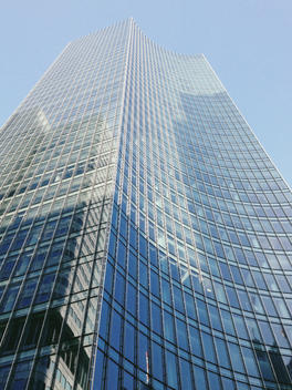Glass facade of skypers high building in Frankfurt, Hesse, Germany