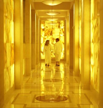 Couple enjoying trendy luxury spa