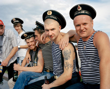 A Group Of Russian Sailors From The Black Sea Fleet (Based In Sevastopol) And The Baltic Fleet (Based In St. Petersburg) Celebrating Navy Day In Moscow'S Victory Park..