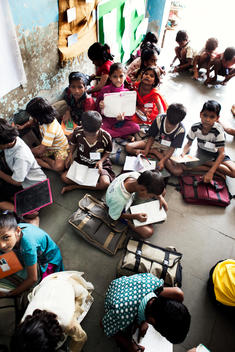 School children studying in class room