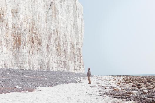 Man Admiring Cliff At Beachy Head