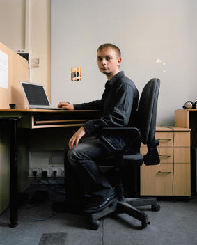 Portrait Of Software Technology Head At His Computer In His Office In Akademgorodok.