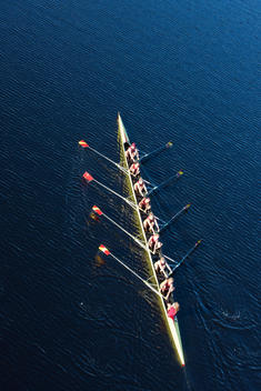 Elevated view of female\'s rowing eight in water