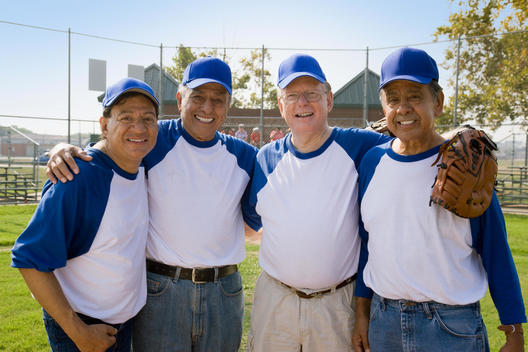Senior men playing on baseball team