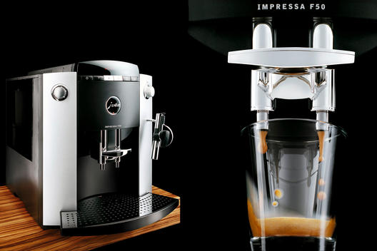 Diptych Of Fully Automatic Coffee Machine Close Up Shot During Operation