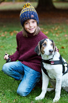 boy with dog in autumn outdoor