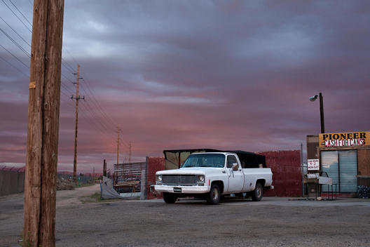 White Pickup Truck And Dramatic Sunset, Kingman, Arizona, Usa.