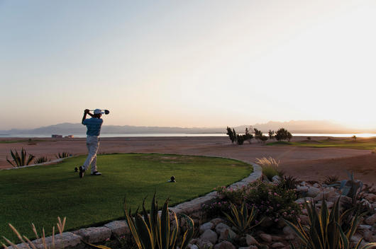 Egypt, Man playing golf on golf course