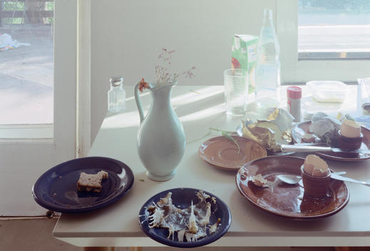 White Wall, Beige Tabletop With Assorted Brown And Blue Dishes, Fish Skeleton, Left-Over Toast, Egg-Shells, Bottles, Celadon Green Vase, Light Flooding In Window