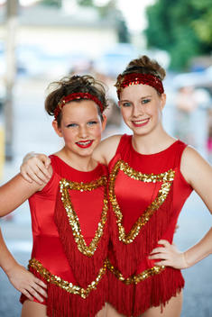two circus artist in costume portrait