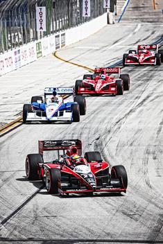 Four racecars; Toyota Long Beach Grand Prix; Indycar racing; #22, #3, #10, #9 cars