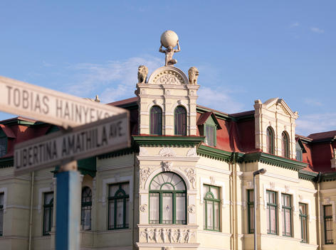 Quiet street scene with German colonial architecture in Swakopmund, Namibia