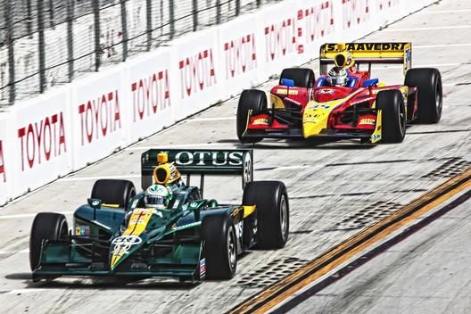 Two racecars; Toyota Long Beach Grand Prix; Indycar racing; #59 & #34 cars