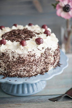 Black Forest Cake on blue cake stand in front of grey background