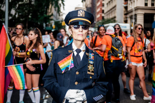 A NYPD veteran marches in the 2015 NYC Pride March (Gay Pride Parade).