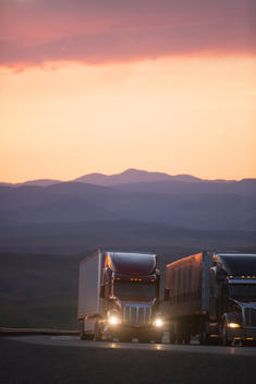 Trucks driving on remote highway