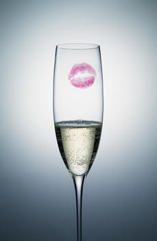 Champagne with lipstick mark