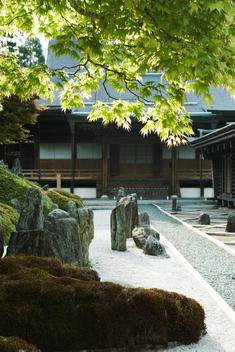 Japanese rock garden and traditional building