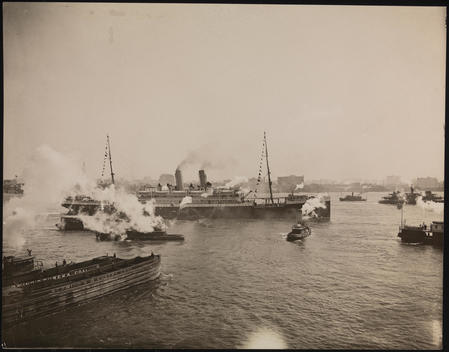 Ships As Seen From The Hamburg-American Line Pier, Ocean Liner Is Possibly S.S. \
