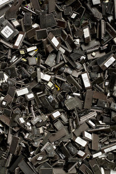 Still-Life Of Parts Of Computers Silicon Chips