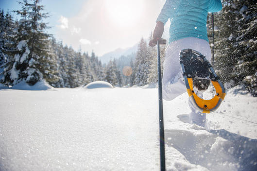 Austria, Salzburg State, Altenmarkt-Zauchensee, Woman snowshoeing in winter landscape