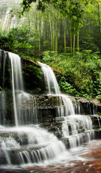 A Manmade Waterfall In The Bamboo Forest In Southern Sichuan