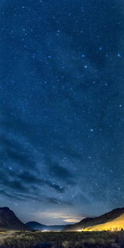 Stars in night sky over Yellowstone National Park