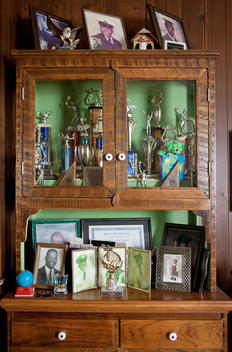 Photos Of Family Of African-American Appearance And Trophies On Display