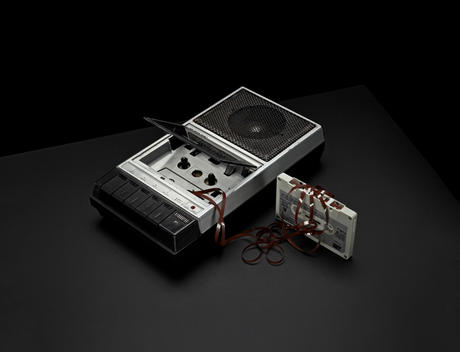 Still life of old cassette recorder and cassette