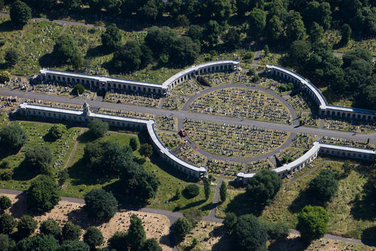 Aerial view of Brompton cemetary in London
