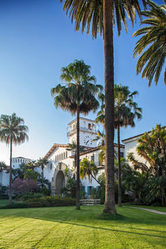 Santa Barbara County Courthouse, a National Historic Landmark, built after a devastating earthquake in 1925. designed by William Mooser Company and finished in 1929, the courthouse is a superlative example of Spanish Colonial revival architecture with Moo