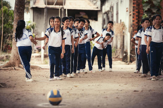 Vietnamese children during sports class