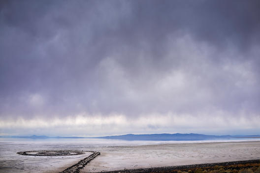 Looking west across the Great Salt Lake from Rozel Point toward Gunnison Island under a thick cloud cover.