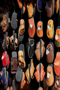 Slippers for sale at a shop in the medina of Essaouira in Morocco
