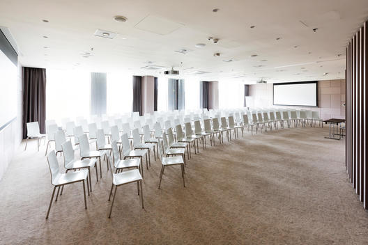 Poland, Warsaw, chairs at conference room of a hotel