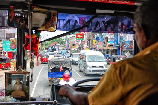 Public buses in central bus terminal in Nuwara Eliya, Sri Lanka, South Asia