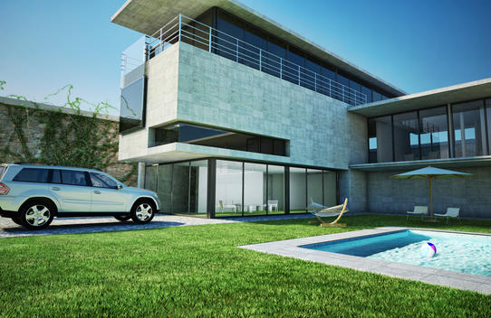 Modern Home with pool and parked car