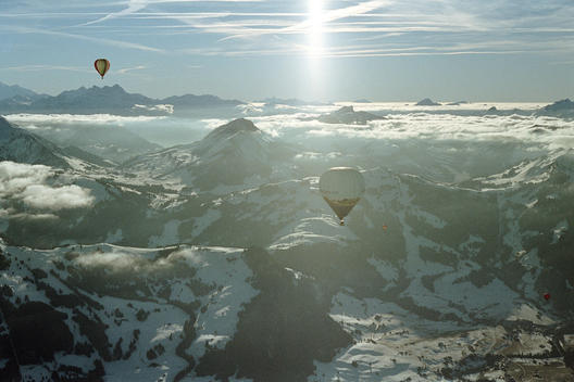 Hot Air Balloons Above Swiss Alps