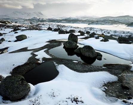 Landscape Of Snowy Rocks, Narvik Norway