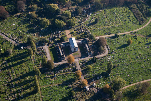 Aerial view of a cemetary near London
