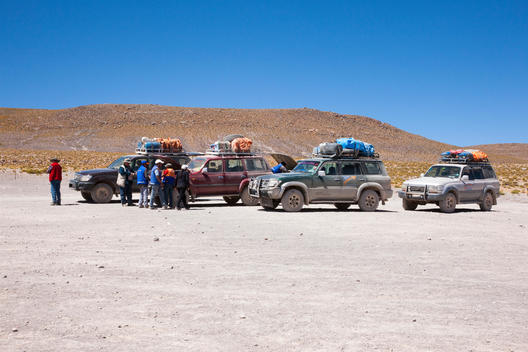 Transportation in southwestern Bolivia; caravan of 4x4s and drivers from Tupiza Tours