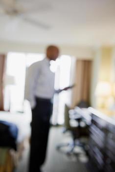 Defocused African businessman in hotel