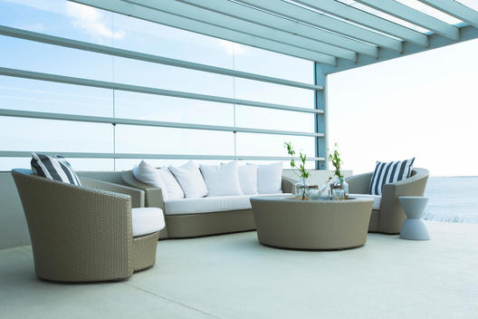 Sofa and chairs on modern patio