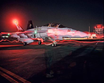 F-18 Returning From Night Training Mission, Iwakuni Marine Corps Air Station, Japan.
