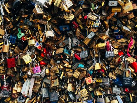 Close-up shot of love locks fastened to each other