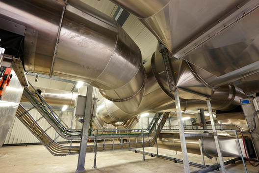 pipes in waste treatment technology plant (recycling technology; producing gas and compost from biological waste)
