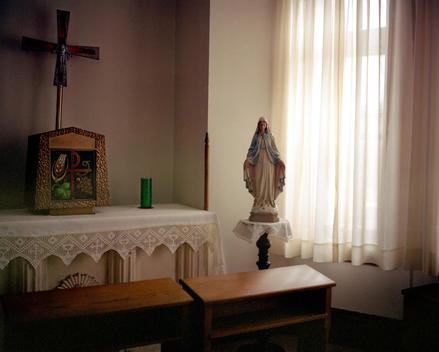 Virgin Mary, statue, church, religion, altar, window