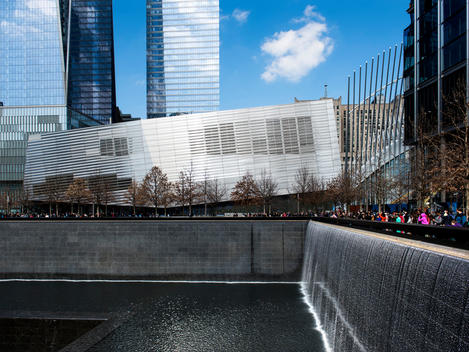 911 Museum and Memorial Fountain at the World Trade Center