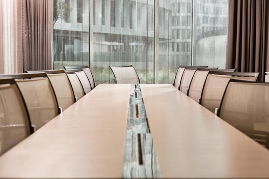 Poland, Warzawa, conference table at hotel