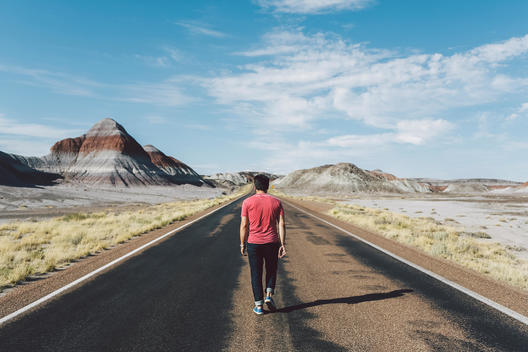 Man in Red Shirt Walking down Desert Road with Stripped Painted Mountains